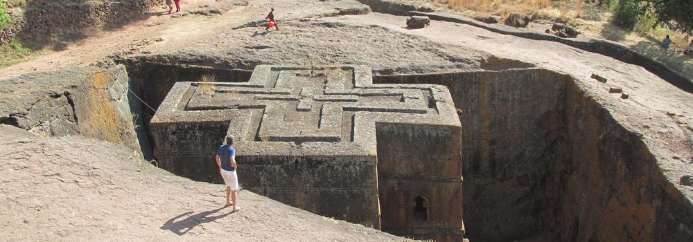 A rock-cut church in Lalibela, Ethiopia
