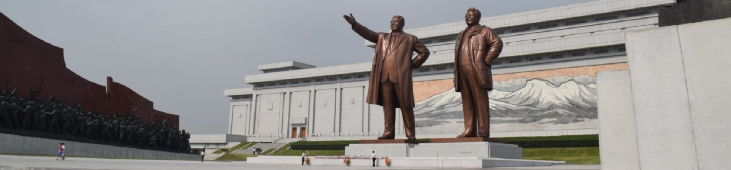 Wide view of the Mansudae Grand Monument in Pyongyang