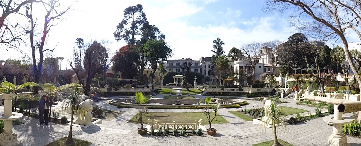 Wide angle view of the Garden of Dreams in Kathmandu in Nepal