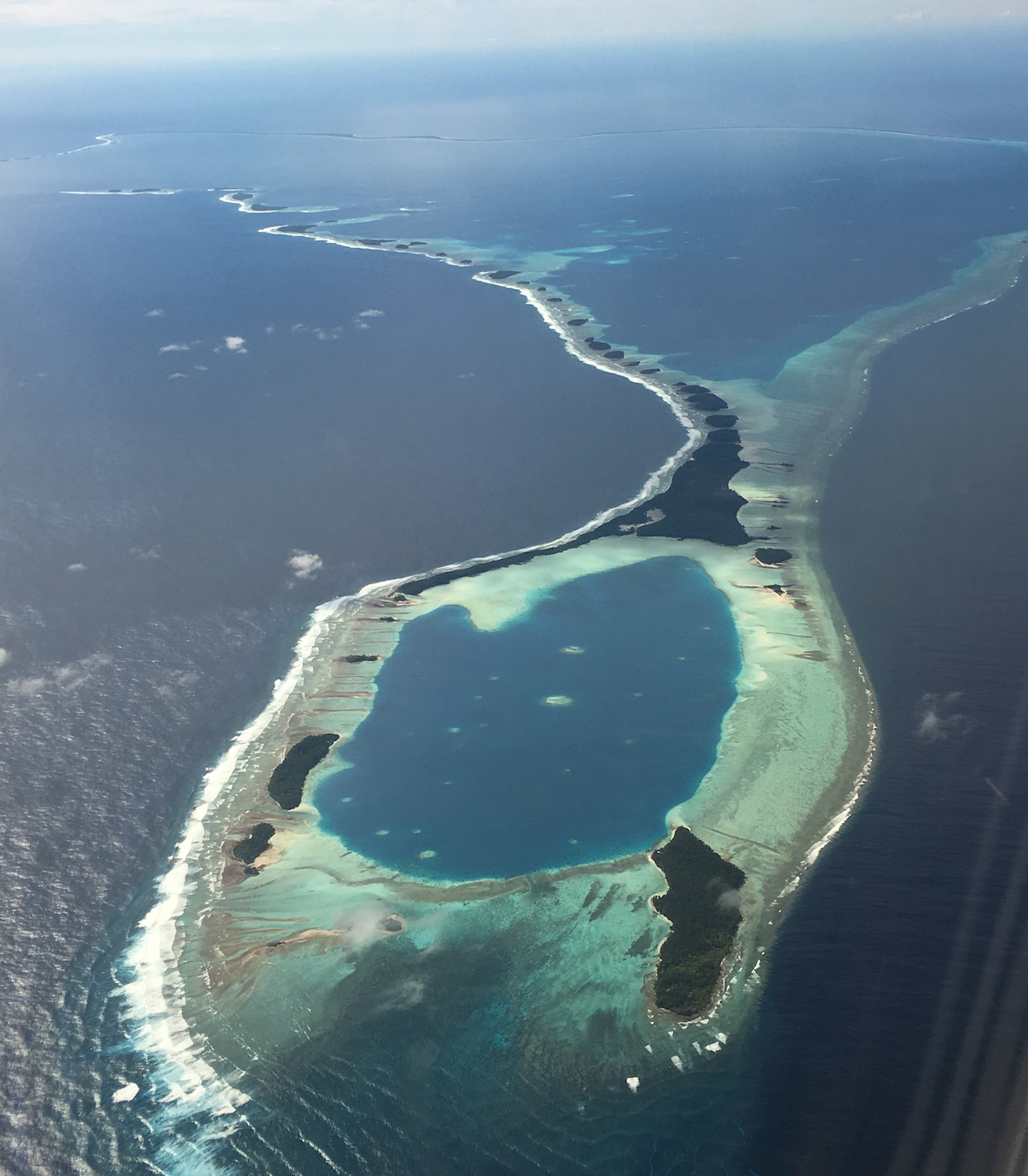 Dazzling Arno Atoll in figure of 8 from the air