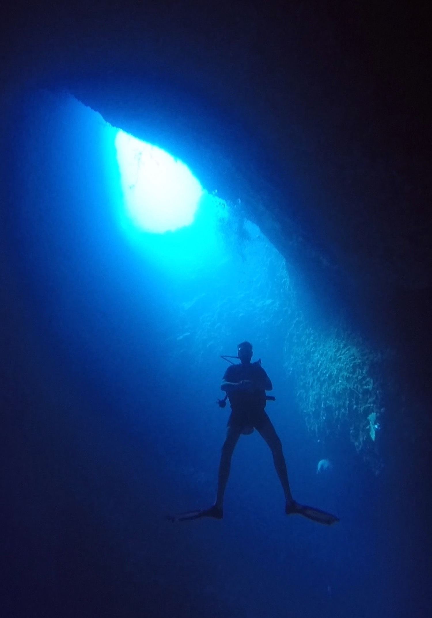 Simon Buckby diving in the Blue Hole in Palau