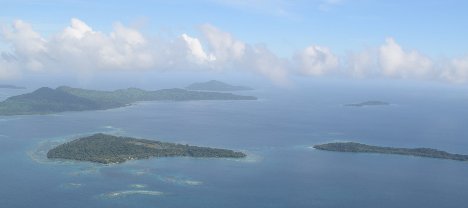 Islands in Truk Lagoon from the air