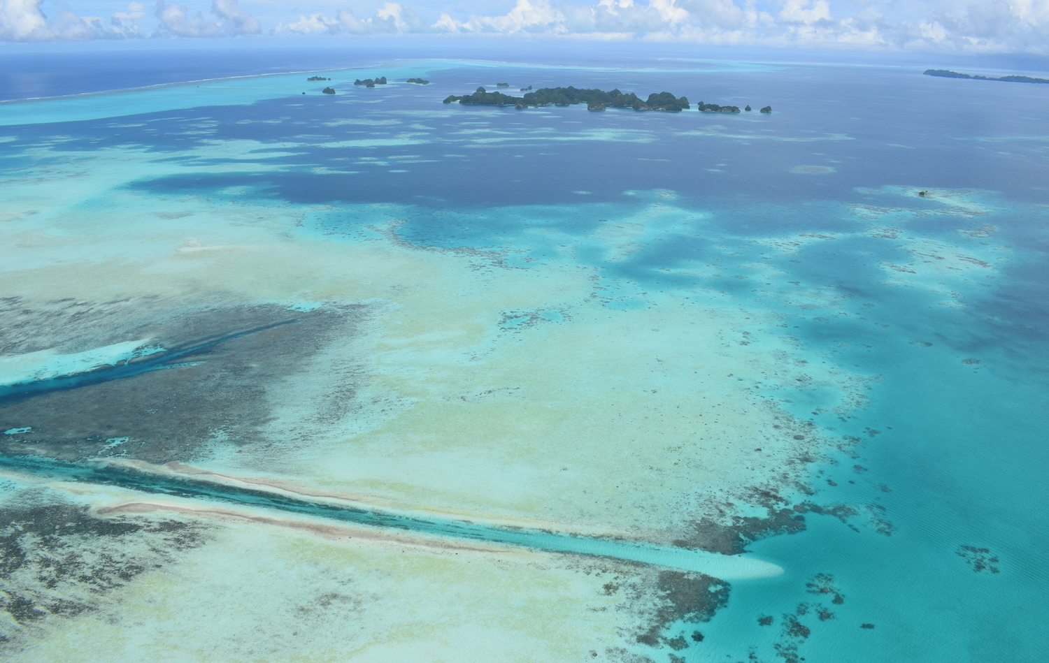 Aerial view of German Channel dive site in Palau