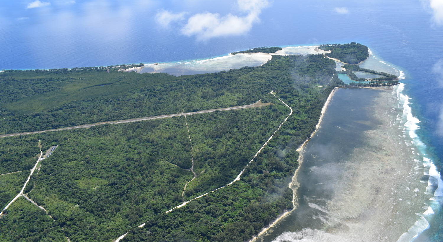 Aerial view of Peleliu battlefield in Palau