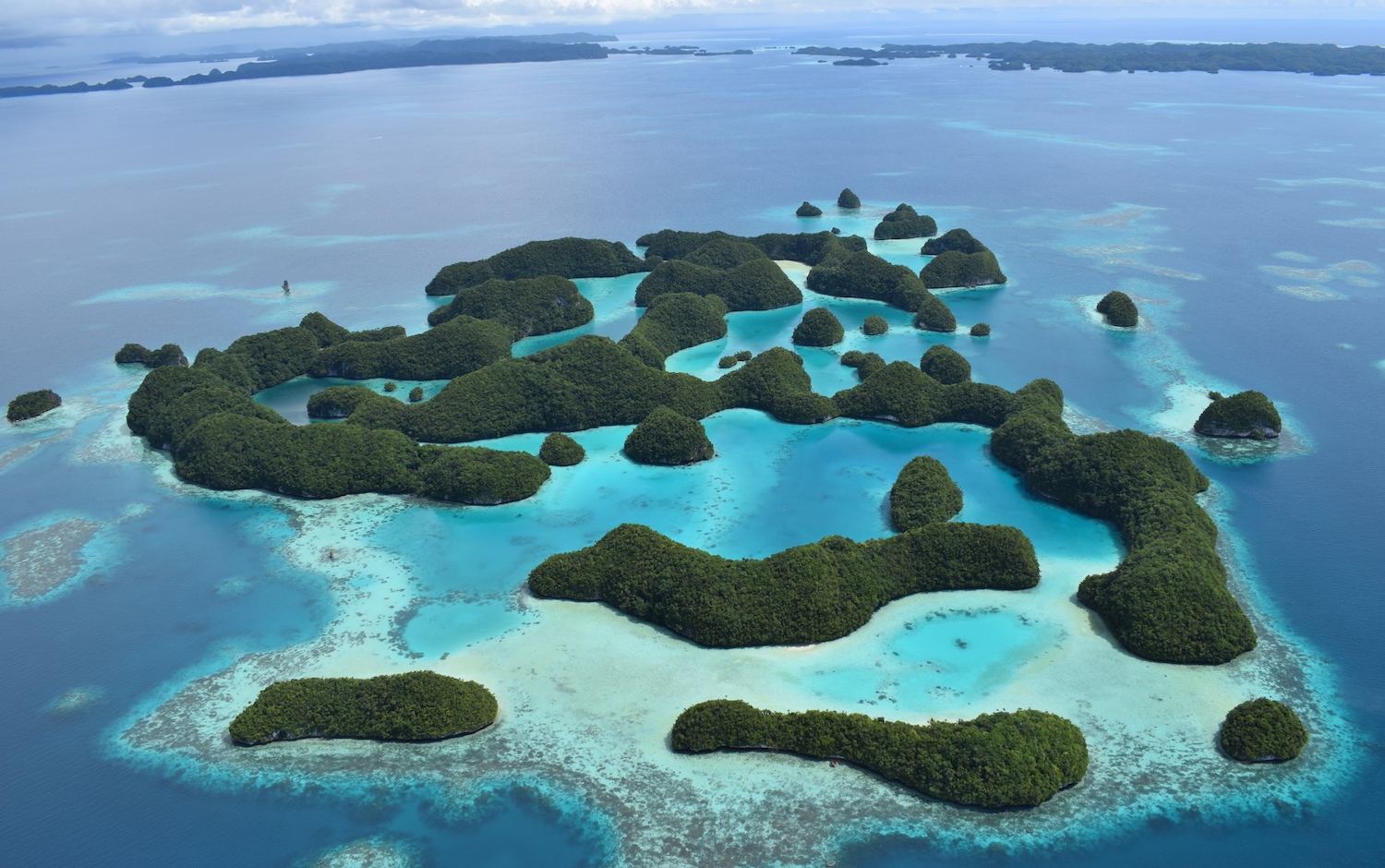 Aerial view of the Rock Islands in Palau