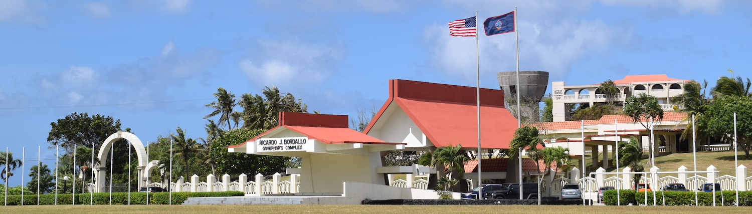 Wide view of the Governor's Complex & Latte of Freedom in Guam