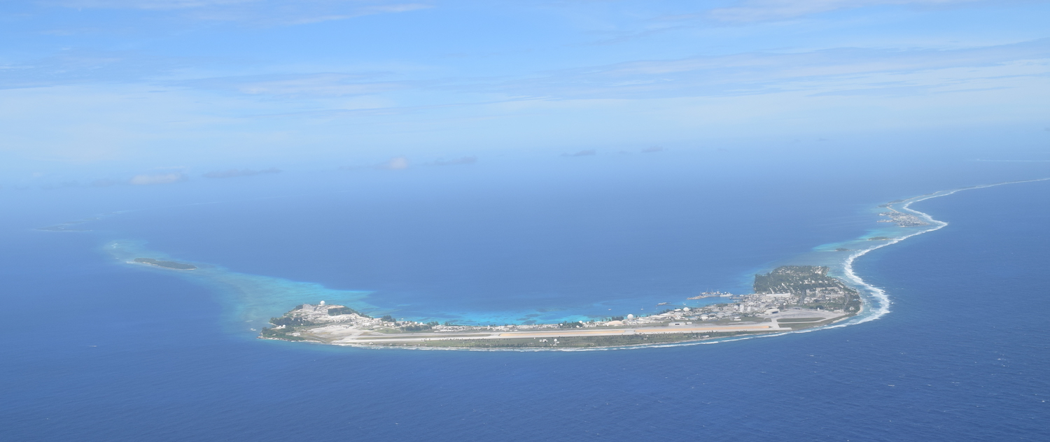 Kwajalein Atoll US military installation from the air