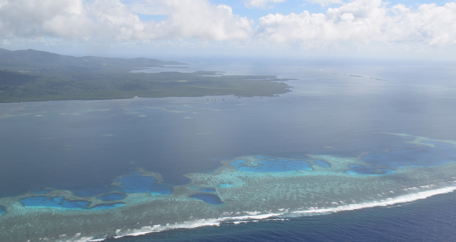 Aerial view of the reef and mangrove coast of Pohnpei
