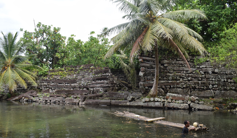 Raft at Nan Madol in Pohnpei