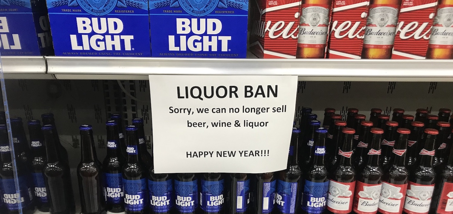 Sign saying Liquor Ban in Pohnpei