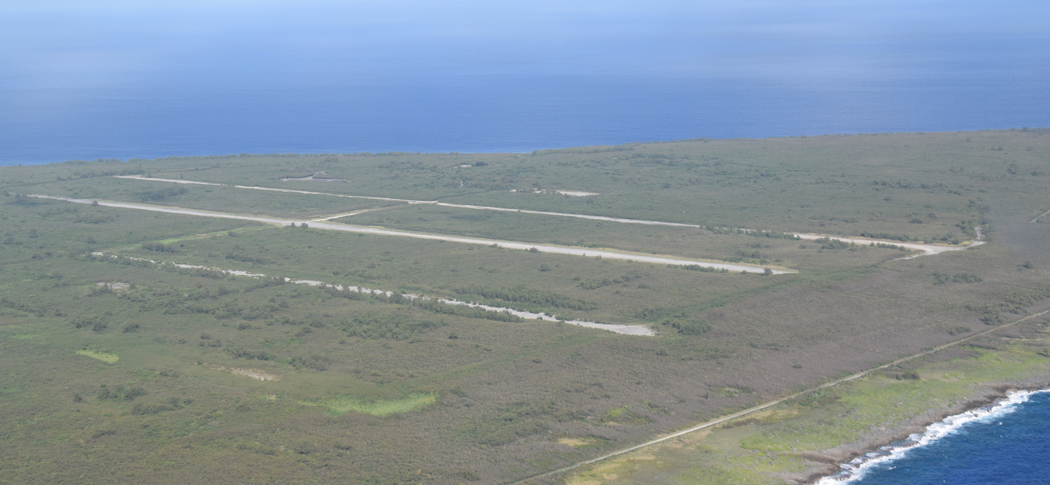 Aerial view of Japanese WW2 runways on Tinian