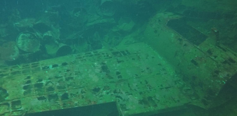 War planes inside a ship wreck at Truk Lagoon
