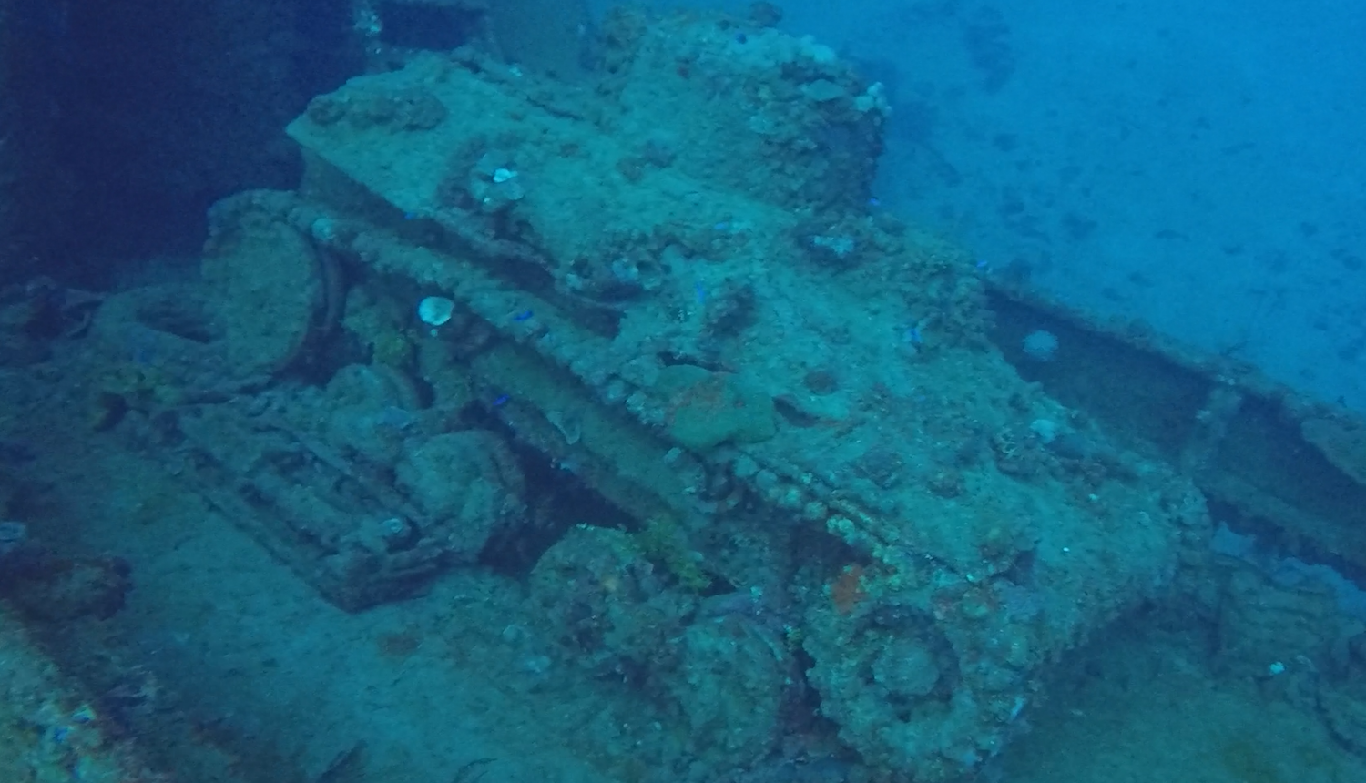 A battle tank inside a ship wreck at Truk Lagoon