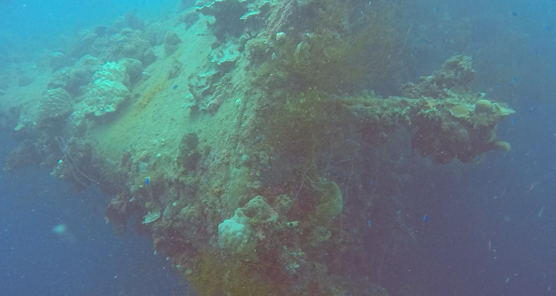 The bow of a ship wreck at Truk Lagoon