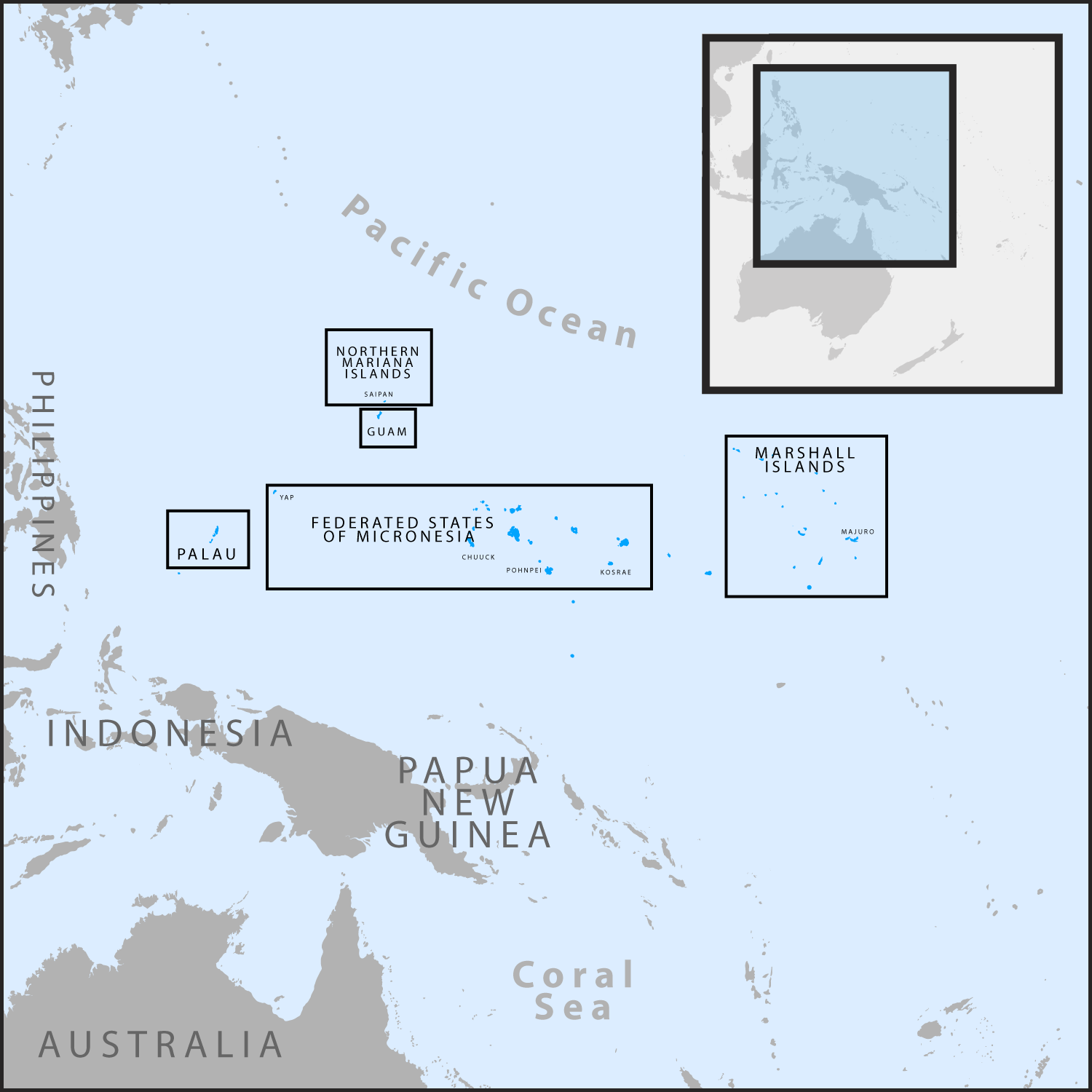 Map of Micronesia region