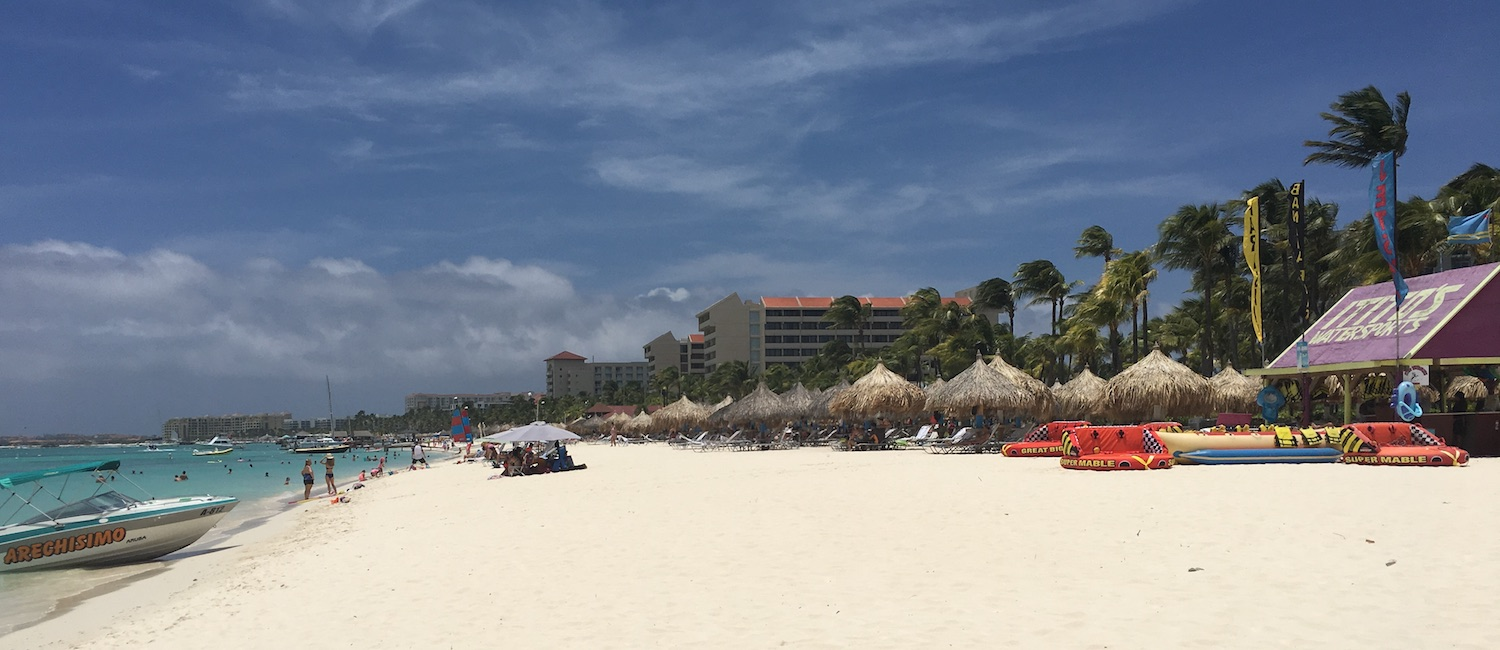 Panoramic view of Palm Beach in Aruba, one of the ABC islands