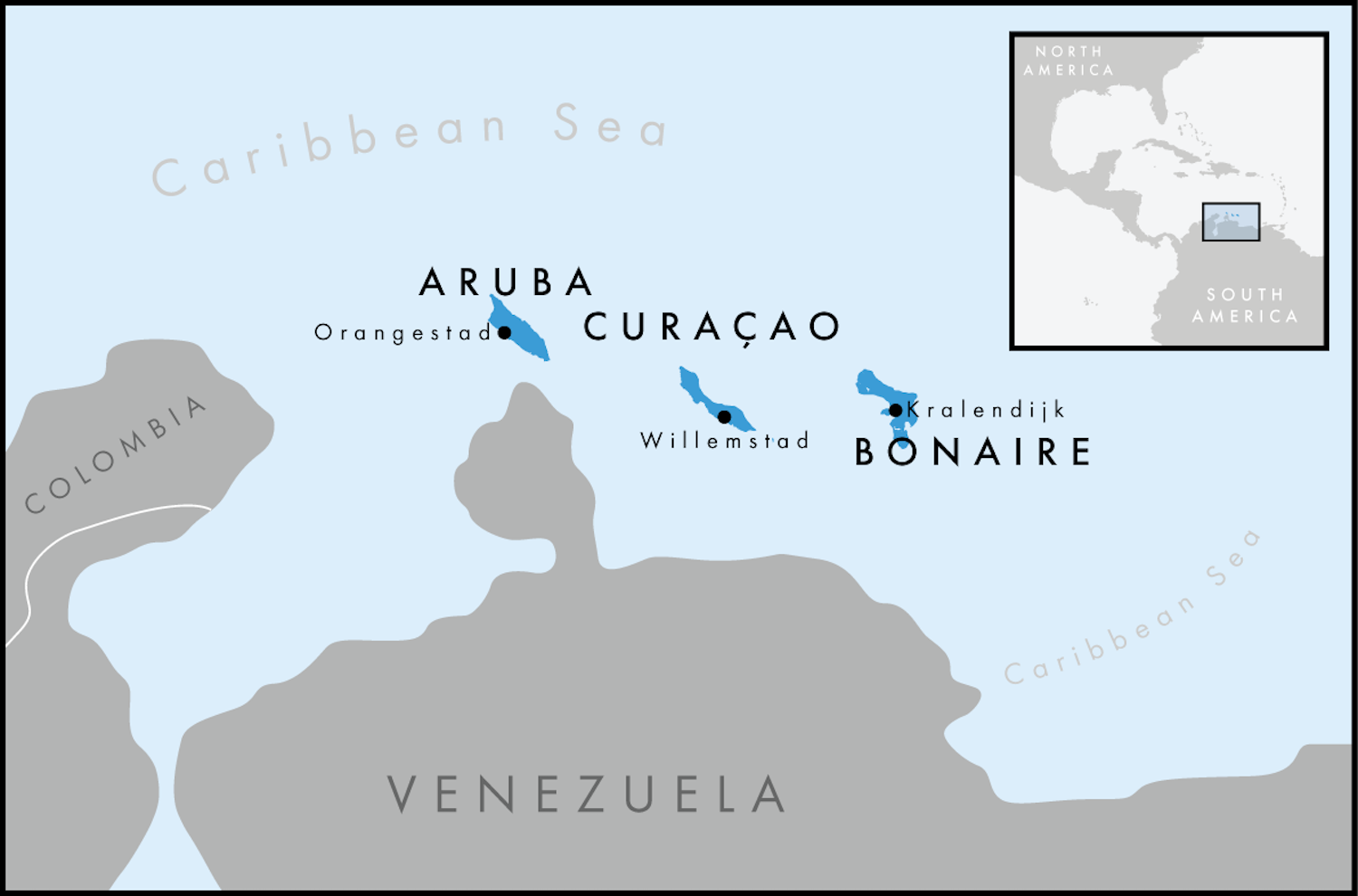Map of Aruba, Bonaire & Curacao